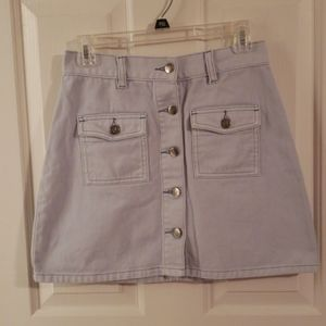 MinkPink Button-Front Denim Skirt